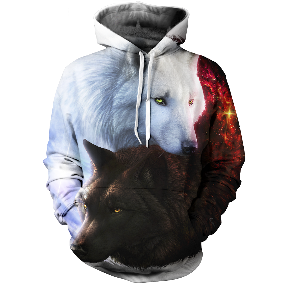 Yin Yang Fire Ice Wolves Unisex Pullover Hoodie