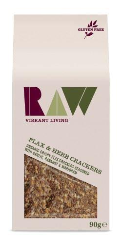 Raw Health - Flax Garlic & Herb Raw Crackers 90g