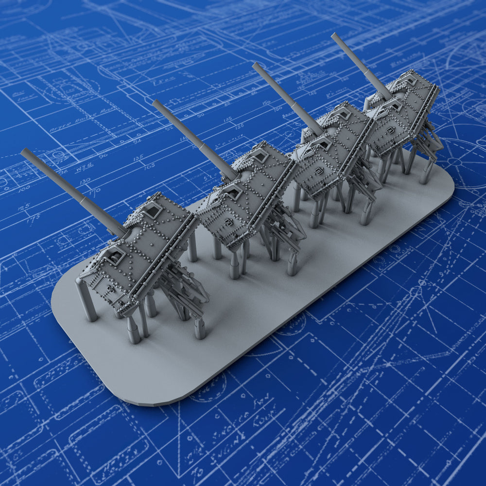 "1/700 Royal Navy 4.7"" MKIX CPMKXVIII Mount x4"