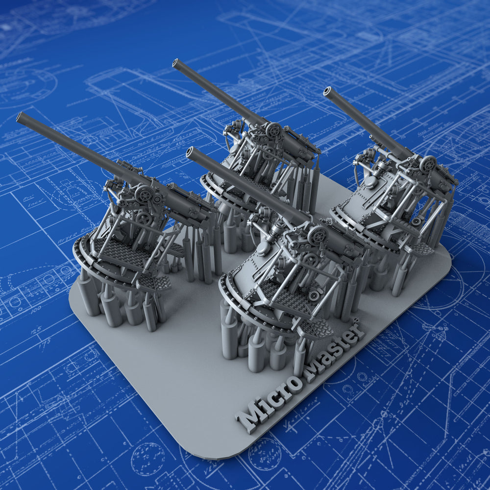 "1/350 Royal Navy 4""/45 (10.2cm) QF MKV HA MKIII Guns x4"