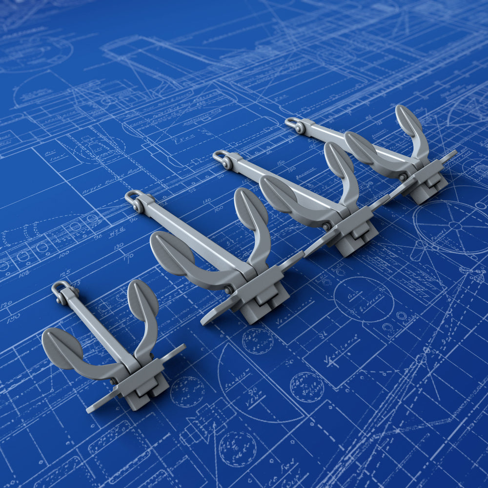 1/350 Royal Navy Taylors 160cwt Anchors (HMS Ark Royal WW2) x4