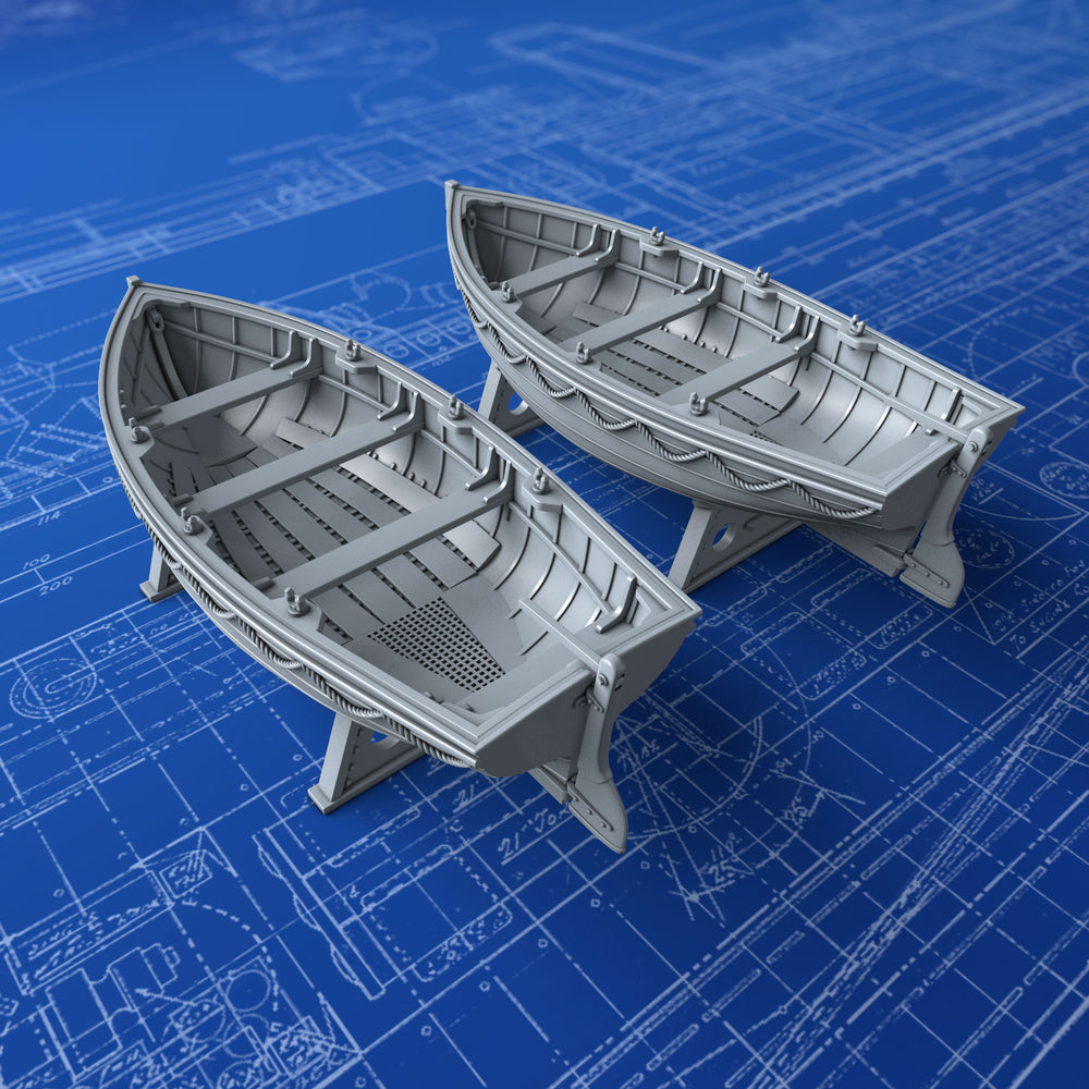 1/72 Royal Navy 14ft Drifter Dinghys x2 (Flowers Class)
