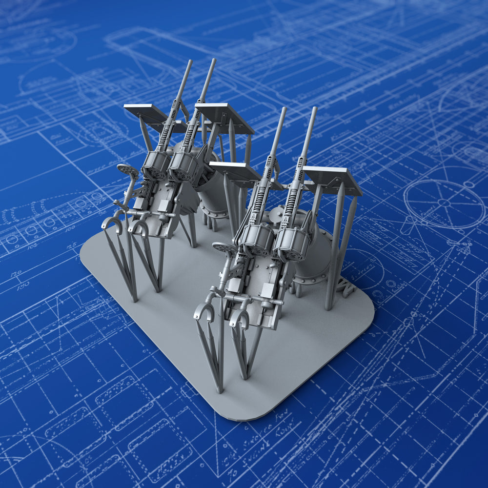 1/144 Royal Navy Twin 20mm Oerlikon MKIX Guns (0º Elevation) x2