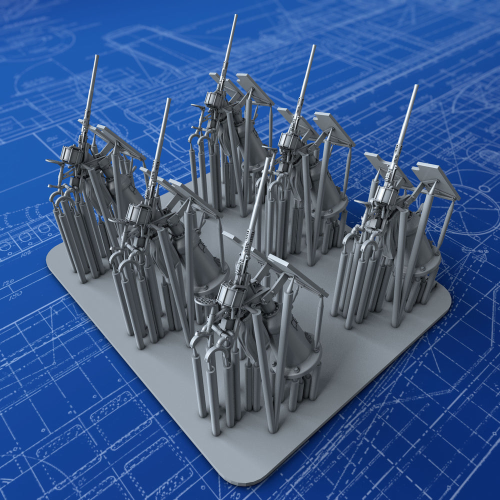 1/192 Royal Navy 20mm Oerlikon MKI Guns (45º Elevation) x6