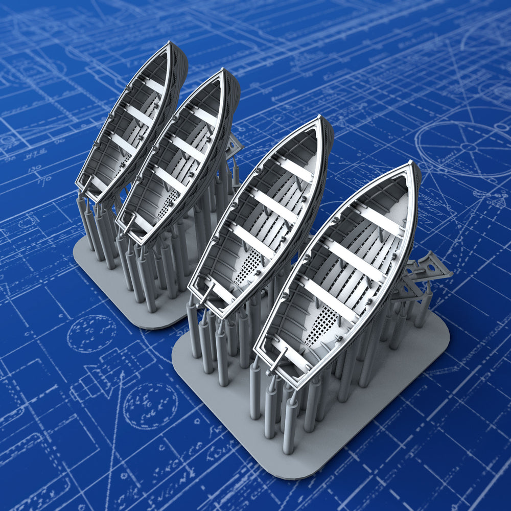1/400 Royal Navy 14ft Drifter Dinghys x4