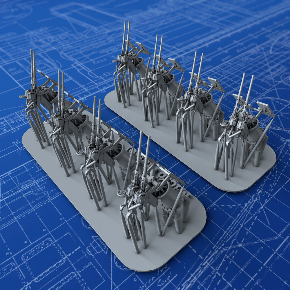 1/350 Royal Navy Twin 20mm Oerlikon MKIX Guns (45º Elevation) x8