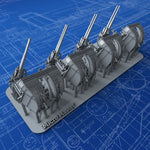 "1/350 Royal Navy 4""/45 (10.2cm) QF MKXVI (MKXIX Twin Mounts) x4"