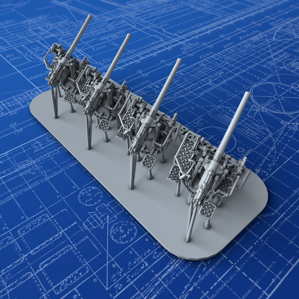 "1/600 Royal Navy 4""/45 (10.2cm) QF MKV HA MKIII Guns x4"