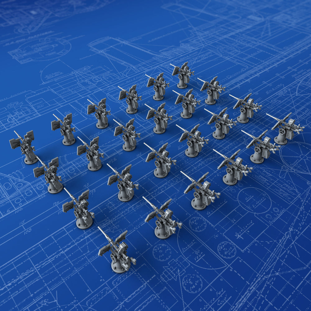 1/600 Royal Navy 20mm Oerlikon MKI Guns (0º Elevation) x24