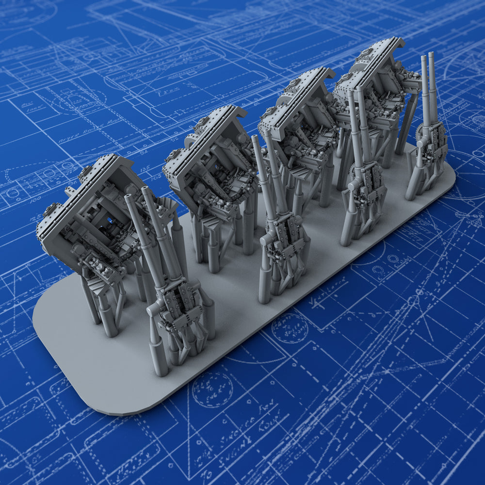 "1/700 Royal Navy 4""/45 (10.2cm) QF MKXVI (MKXIX Twin Mounts) x4"