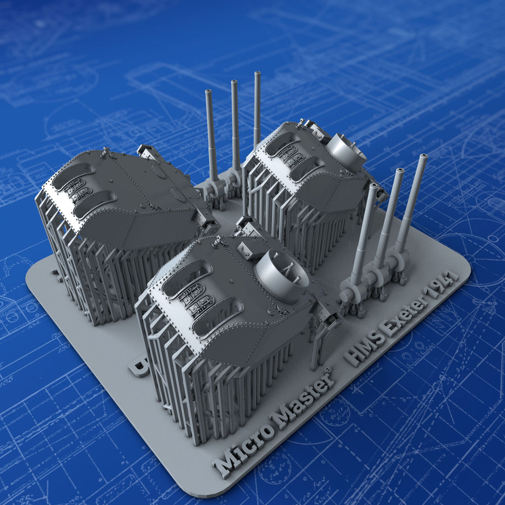 "1/700 Royal Navy 8"" MKVIII MKII Turrets x3 (HMS Exeter 1942)"