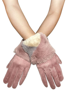 Colour Block Faux Fur Touchscreen Gloves