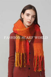 Large Check Woven Tassel Blanket Wrap - Fashion Scarf World