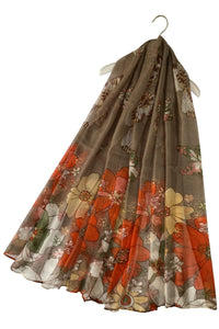 Illustrated Floral & Butterfly Print Scarf - Fashion Scarf World