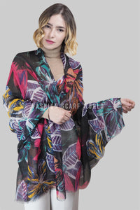 Bright Flower & Metallic Stripe Frayed Scarf - Fashion Scarf World