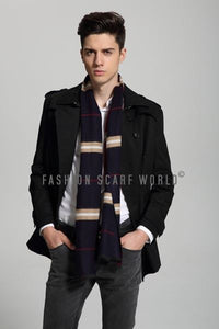 Double Sided Check Print Mens Frayed Scarf - Fashion Scarf World