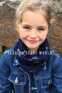 Kid's Silver Unicorn Print Snood - Fashion Scarf World