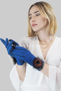 Rainbow Spiral Real Fur Mix Pom Pom Touchscreen Gloves - Fashion Scarf World