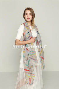 Multicolour Feather Print Scarf - Fashion Scarf World