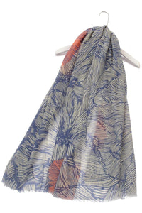 Enlarged Line Floral Print Frayed Scarf - Fashion Scarf World