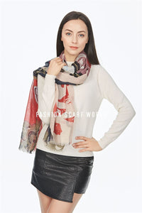 Colourful Bird Print Frayed Scarf - Fashion Scarf World