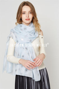 Silver Dandelion Print Cotton Scarf - Fashion Scarf World