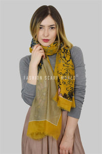 Dot & Stripe Print Wildflower Scarf - Fashion Scarf World