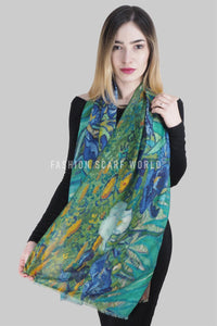 Van Gogh Irises Print Frayed Scarf - Fashion Scarf World
