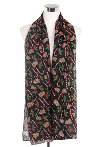 Holly & Candy Cane Print Tassel Scarf - Fashion Scarf World