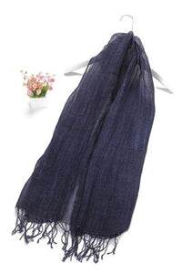 Tie-Dye Effect Tassel Linen Scarf - Fashion Scarf World