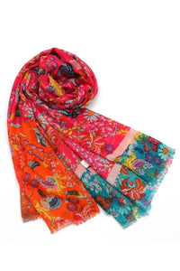 Indian Orchid And Bird Print Frayed Scarf - Fashion Scarf World