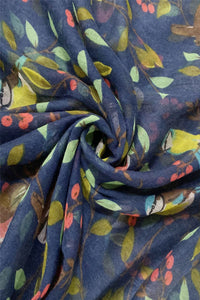 Colourful Robin & Bluetit Bird Print Scarf - Fashion Scarf World