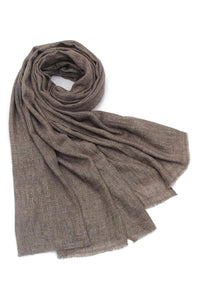 Plain Shaded Colour Pure Cashmere Scarf - Chocolate - Fashion Scarf World