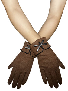 Preppy Style Bow Touchscreen Gloves