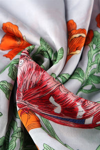 Insect & Exotic Flower Silk Scarf - Fashion Scarf World