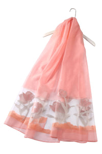 Sheer Tulip Print Silk Scarf - Fashion Scarf World