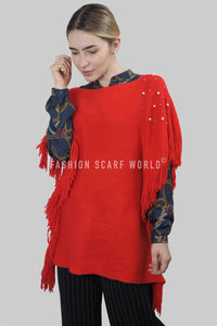 Pearl & Bead Shoulder Knitted Poncho - Fashion Scarf World