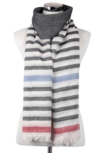 Stripes Border Pattern Frayed Scarf - Fashion Scarf World
