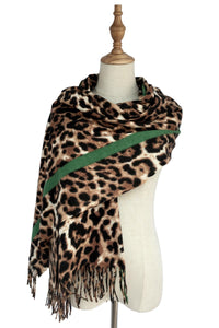 Animal Leopard Print & Stripe Tassel Scarf - Fashion Scarf World