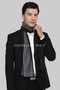 Reversible Dots & Pin Stripes Print Frayed Men/Unisex Scarf