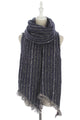 Pin Stripes Print Frayed Wrap - Fashion Scarf World