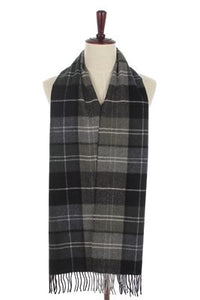 Men Tartan Print Pure Wool Tassel Scarf - Fashion Scarf World