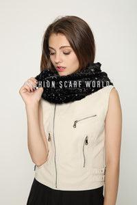 Metallic Stardust Furry Snood - Fashion Scarf World