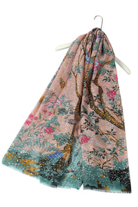 Silver Speckled Birds In Branches Frayed Scarf - Fashion Scarf World