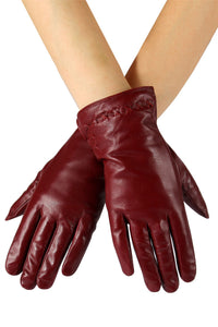 Cross Stitch Detail Leather Gloves - Fashion Scarf World