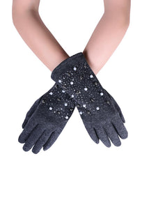Pearl and Diamante Touchscreen Gloves - Fashion Scarf World