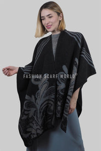 Giant leaves & Floral Print Poncho Wrap - Fashion Scarf World
