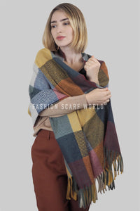Colourful Patchwork Tassel Blanket Wrap - Fashion Scarf World