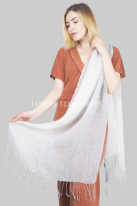 Pastel Tonal Plain Tassel Linen Scarf - Fashion Scarf World