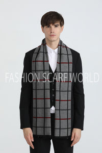 Reversible Soft Check Frayed Unisex Scarf